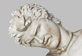 The Dying Gaul, a Roman statue with a torc in the Capitoline Museums in Rome Dying Gaul (Head).jpg