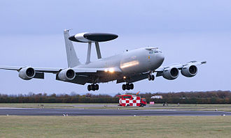 RAF Waddington - E-3D Sentry Aircraft Lands at RAF Waddington