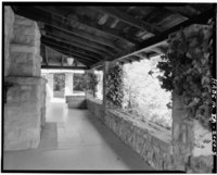 EAST PORCH, LOOKING NORTH, FIREPLACE AT RIGHT - H. P. Dyer House, 16055 Sanborn Road, Saratoga, Santa Clara County, CA HABS CAL,43-SARA,4-5.tif