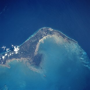 Western and central Grand Bahama seen from space, looking southwest