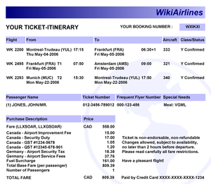 Electronic ticket - A sample itinerary for an open jaw electronic ticket from Montreal to Amsterdam, and returning from Munich