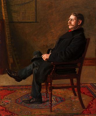 Arrangement in Grey and Black, No. 2: Portrait of Thomas Carlyle - Frank Jay St. John (1900), by Thomas Eakins, indicates the influence of Whistler's portrait of Carlyle on a realist painter of a different sensibility.