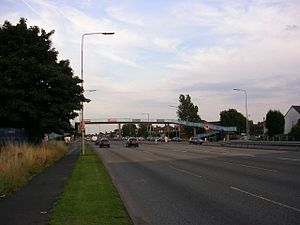 "A580 road - A section of the ""East Lancs Road"" at Wardley in the City of Salford."