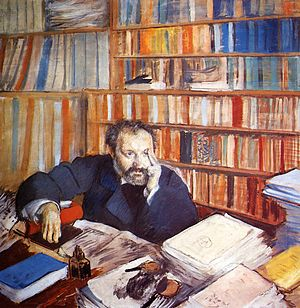 Portrait of Gustave Geffroy - Edgar Degas: Portrait of Duranty, 1879 Oil on canvas, 100.6 x 100.6 cm Burrell Collection, Glasgow
