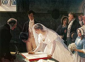 Wedding - Many cultures have adopted the traditional Western custom of the white wedding, when the bride wears a white wedding dress and veil. Painting by Edmund Leighton (1853–1922)