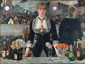 Beer in England - Bottles of Bass on the bar in Manet's 1882 A Bar at the Folies-Bergère. England was a major exporter of beer at the time.