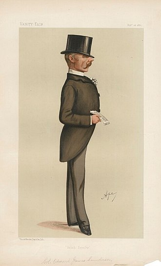 "Edward James Saunderson - ""Irish loyalty"". Caricature by Ape published in Vanity Fair in 1887."