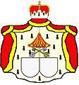 Een prinselijk alliantiewapen met een umbrellino laat zien dat een lid van de familie paus is geweest.jpg