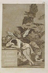 """""""El sueño de la razón produce monstruos"""", grabado de Goya."""