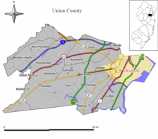 Map of Elizabeth in Union County(Click image to enlarge. See also: state map)