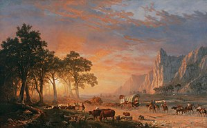 1869 in art - Image: Emigrants Crossing the Plains, or The Oregon Trail (Albert Bierstadt), 1869