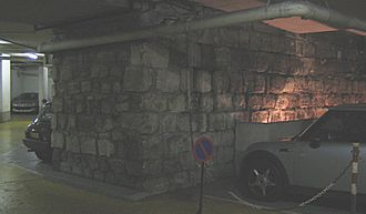 Wall of Philip II Augustus - A part of the wall of Philip Augustus in the parking Mazarine, rue de l'Ancienne-Comédie