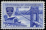Engineering Centennial 3c 1952 issue U.S. stamp
