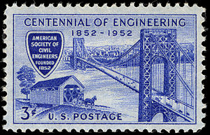 American Society of Civil Engineers - U.S. stamp commemorating the 100th anniversary of the ASCE in 1952