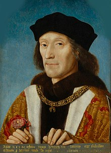Painting of Henry VII in 1505 wearing a gold collar and holding a rose