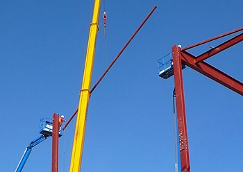 English: Erection of steel Frame Building, Yeo...