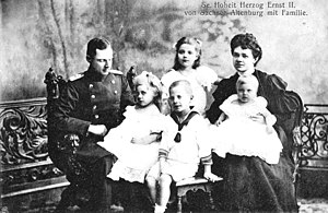 Princess Charlotte of Saxe-Altenburg - Princess Charlotte with her family ca. 1906. In the picture: Duke Ernst II, Princess Elisabeth, Hereditary Prince George Moritz, Duchess Adelaide with Prince Frederick and in the back Princess Charlotte.
