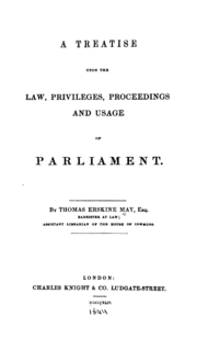 <i>Erskine May: Parliamentary Practice</i> book by Erskine May, 1st Baron Farnborough