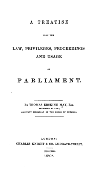 Erskine May - Parliamentary Practice 1844 titlepage.png