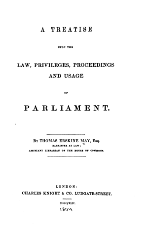 Erskine May: Parliamentary Practice - Image: Erskine May Parliamentary Practice 1844 titlepage