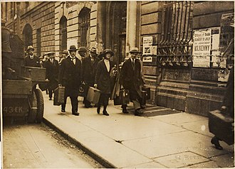 Battle of Dublin - Guests of the Edinburgh Hotel on O'Connell St. make their way from the hotel on 5 July 1922.