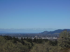 Springfield as seen from Mount Pisgah, looking north, with some of Eugene in the west