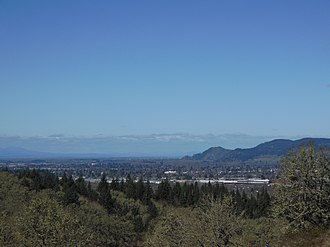 Springfield, Oregon - Springfield as seen from Mount Pisgah, looking north, with some of Eugene in the west