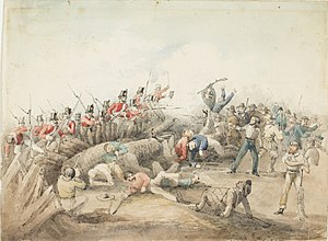 Eureka Rebellion - Eureka Stockade Riot. J. B. Henderson (1854) watercolour