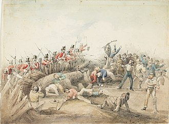 Eureka Stockade Riot. J. B. Henderson (1854) watercolour Eureka stockade battle.jpg