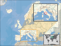 Location of Vatican City on a map of Europe