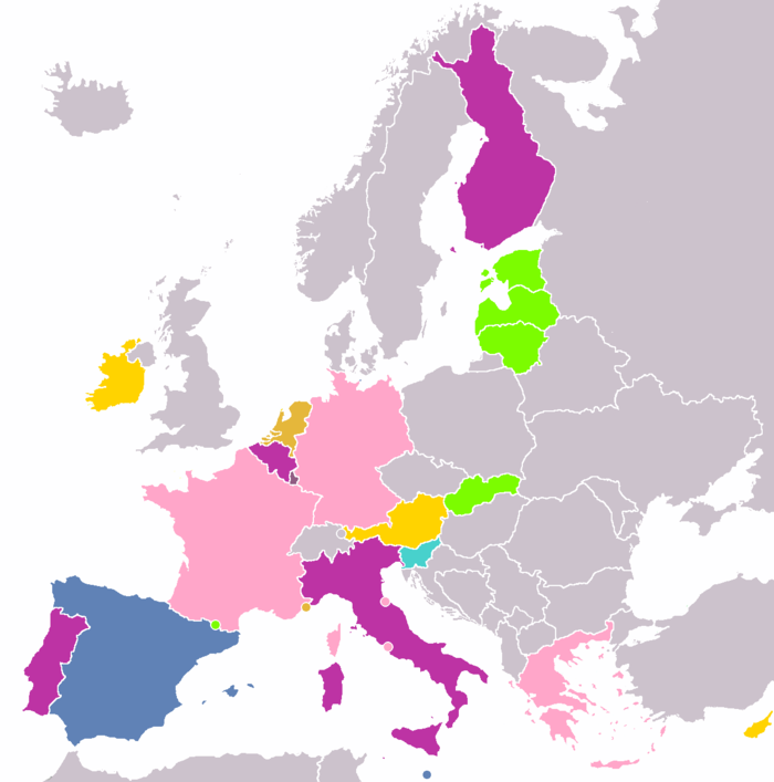 color coded map of eurozone countries by number of 2 commemorative coins issued