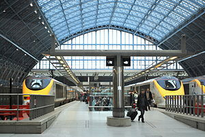 High Speed 1 - Eurostar trains at St Pancras International