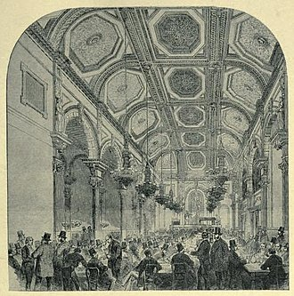 Evans Music-and-Supper Rooms - Illustration of Evans Music-and-Supper Rooms from Fifty years of a Londoner's life (1916)