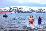 Excursion No. 12. into the old caldera of Deception Island.it's absolutely amazing what humans will do for fun.the Polar plunge, witnessed by an array of chicken photographers and a few bewildered (25387016463).jpg