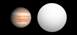 HAT-P-9b - Size comparison of HAT-P-9b with Jupiter.