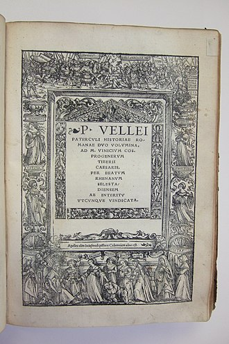 Marcus Velleius Paterculus - Early 16th century publication edited by Beatus Rhenanus