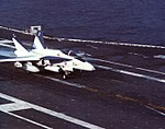 FA-18A Hornet landing aboard USS Independence (CV-62), in 1984.jpg