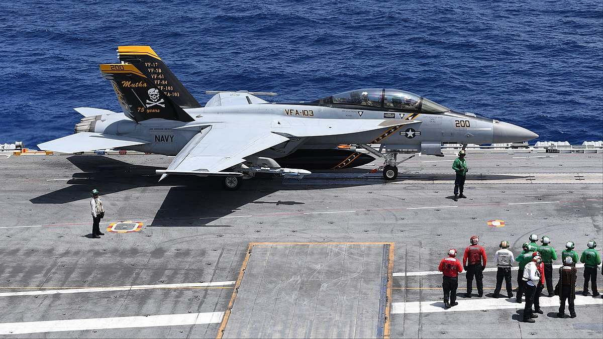 FA-18F Super Hornet of VFA-103 aboard USS Abraham Lincoln (CVN-72) in the Atlantic Ocean on 1 August 2018 (180801-N-RG171-1542).JPG