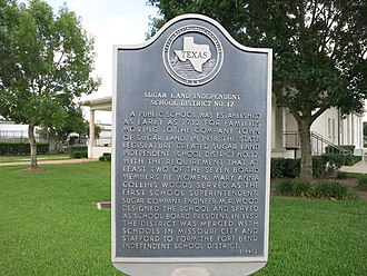 Fort Bend Independent School District - Historic marker of the former Sugar Land ISD near Lakeview Elem. School.
