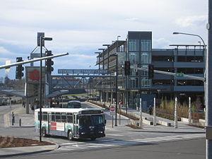 Federal Way Transit Center - Sound Transit Express bus leaving the transit center