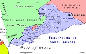 Federation of South Arabia - Location of the Federation of South Arabia on the Arabian Peninsula.