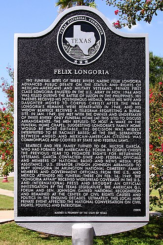 The Felix Longoria Texas Historical Marker Felix Longoria Historical Marker Three Rivers.jpg