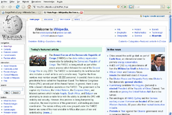 An example of a web browser (Mozilla Firefox) showing the main Wikipedia web page.