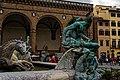 Firenze - Florence - Piazza della Signoria - View SW on La Fontana del Nettuno with bronze Satyrs, Nimphes & Fauns by Giambologna 1575.jpg