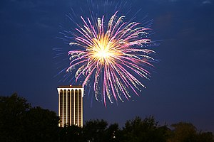Downtown Columbus, Georgia - Fireworks in Downtown on July 4, 2009.