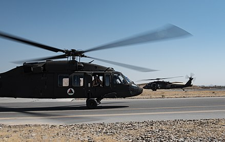 Black Hawks of the Afghan Air Force at Kandahar Airfield. As a major non-NATO ally, the Afghan Armed Forces receive most of their equipment and training from the United States. First set of Afghan UH-60A Black Hawks.jpg