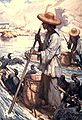 Illustration of fisherman on raft with pole for punting and numerous black birds on raft