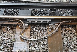 Fishplate at Birkenhead Central station.jpg