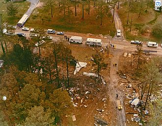 Southern Airways Flight 242 - The overhead view of the debris field of Southern Airways Flight 242