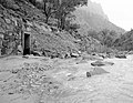 Flood damage to rock wall on Virgin River, a quarter mile south of Court of Patriarchs. Record of damage or defective (cddda41bfd694acaa891a3a3f6519f85).jpg